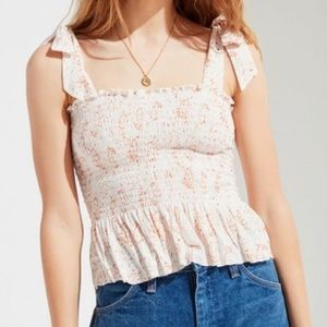 Urban Outfitters Smocked Tie-Shoulder Top